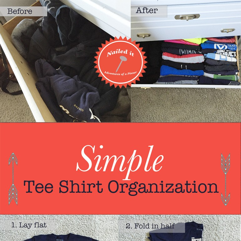 organize tee shirts by Adventures of a Pinner Blog