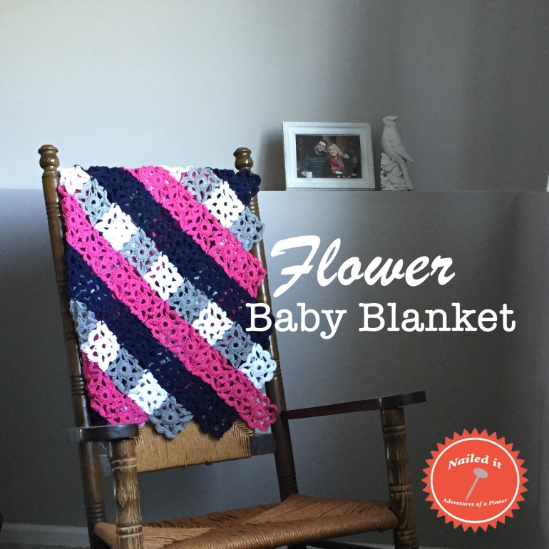 crochet flower baby blanket pattern on Adventures of a Pinner Blog