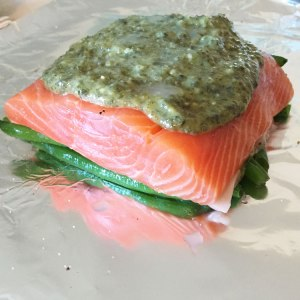 easy grilled dinner - grilled salmon with pesto and veggies by Adventures of a Pinner Blog